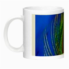 Blue Peacock Feather Night Luminous Mugs by Amaryn4rt