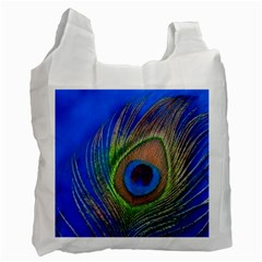 Blue Peacock Feather Recycle Bag (one Side) by Amaryn4rt