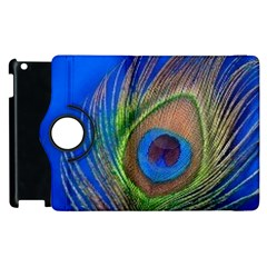 Blue Peacock Feather Apple Ipad 3/4 Flip 360 Case by Amaryn4rt