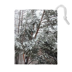 Winter Fall Trees Drawstring Pouches (extra Large) by ansteybeta
