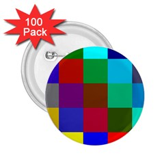 Chessboard Multicolored 2 25  Buttons (100 Pack)