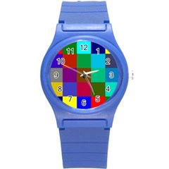 Chessboard Multicolored Round Plastic Sport Watch (s)