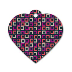 Abstract Squares Dog Tag Heart (two Sides)