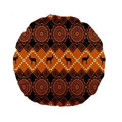 African Pattern Deer Orange Standard 15  Premium Round Cushions by Jojostore