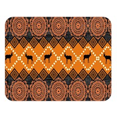 African Pattern Deer Orange Double Sided Flano Blanket (large)