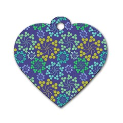 Color Variationssparkles Pattern Floral Flower Purple Dog Tag Heart (two Sides)