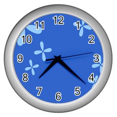 Flower Floral Blue Wall Clocks (silver)  by Jojostore