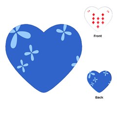 Flower Floral Blue Playing Cards (heart)  by Jojostore