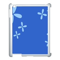 Flower Floral Blue Apple Ipad 3/4 Case (white)