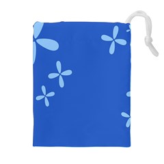Flower Floral Blue Drawstring Pouches (extra Large) by Jojostore