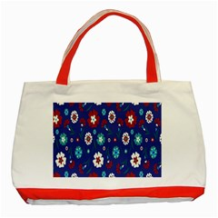 Flower Floral Flowering Leaf Blue Red Green Classic Tote Bag (red)