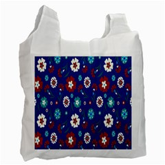 Flower Floral Flowering Leaf Blue Red Green Recycle Bag (one Side)