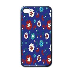 Flower Floral Flowering Leaf Blue Red Green Apple Iphone 4 Case (black)