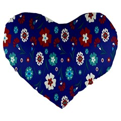Flower Floral Flowering Leaf Blue Red Green Large 19  Premium Heart Shape Cushions by Jojostore