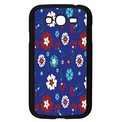 Flower Floral Flowering Leaf Blue Red Green Samsung Galaxy Grand Duos I9082 Case (black)