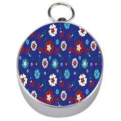 Flower Floral Flowering Leaf Blue Red Green Silver Compasses by Jojostore