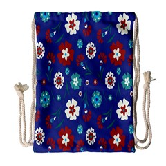 Flower Floral Flowering Leaf Blue Red Green Drawstring Bag (large) by Jojostore