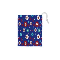 Flower Floral Flowering Leaf Blue Red Green Drawstring Pouches (xs)  by Jojostore