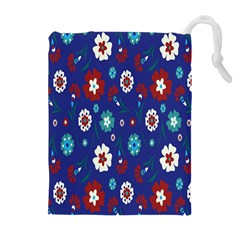 Flower Floral Flowering Leaf Blue Red Green Drawstring Pouches (extra Large) by Jojostore