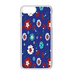 Flower Floral Flowering Leaf Blue Red Green Apple Iphone 7 Plus White Seamless Case