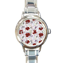 Flower Floral Rose Leaf Red Purple Round Italian Charm Watch by Jojostore