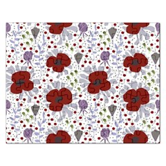 Flower Floral Rose Leaf Red Purple Rectangular Jigsaw Puzzl by Jojostore