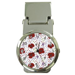 Flower Floral Rose Leaf Red Purple Money Clip Watches