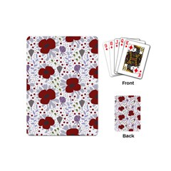 Flower Floral Rose Leaf Red Purple Playing Cards (mini)  by Jojostore