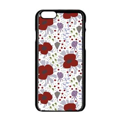 Flower Floral Rose Leaf Red Purple Apple Iphone 6/6s Black Enamel Case by Jojostore