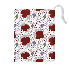 Flower Floral Rose Leaf Red Purple Drawstring Pouches (extra Large) by Jojostore