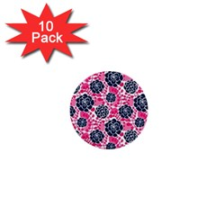 Flower Floral Rose Purple Pink Leaf 1  Mini Buttons (10 Pack)