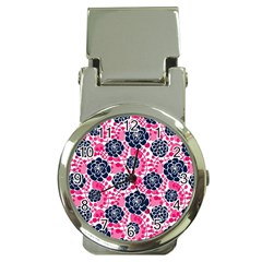 Flower Floral Rose Purple Pink Leaf Money Clip Watches