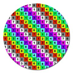 Mapping Grid Number Color Magnet 5  (round) by Jojostore