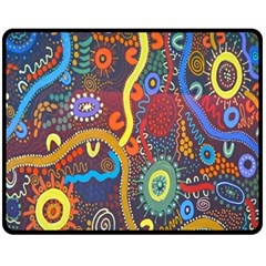 Mbantua Aboriginal Art Gallery Cultural Museum Australia Fleece Blanket (medium)  by Jojostore