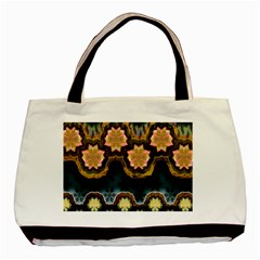 Ornate Floral Textile Basic Tote Bag (two Sides) by Jojostore