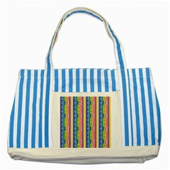Psychedelic Carpet Striped Blue Tote Bag by Jojostore