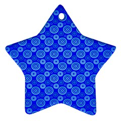 Neon Circles Vector Seamles Blue Star Ornament (two Sides) by Jojostore