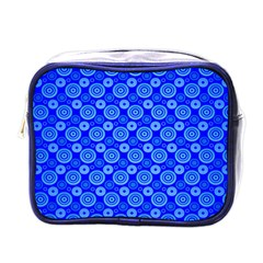 Neon Circles Vector Seamles Blue Mini Toiletries Bags