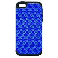 Neon Circles Vector Seamles Blue Apple Iphone 5 Hardshell Case (pc+silicone)