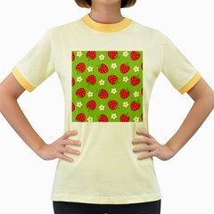 Strawberries Flower Floral Red Green Women s Fitted Ringer T Shirts