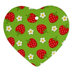 Strawberries Flower Floral Red Green Heart Ornament (two Sides) by Jojostore