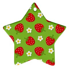 Strawberries Flower Floral Red Green Star Ornament (two Sides) by Jojostore