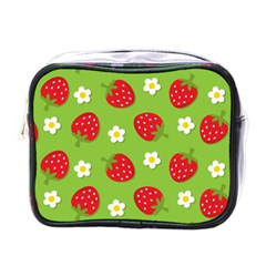 Strawberries Flower Floral Red Green Mini Toiletries Bags