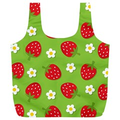 Strawberries Flower Floral Red Green Full Print Recycle Bags (l)  by Jojostore