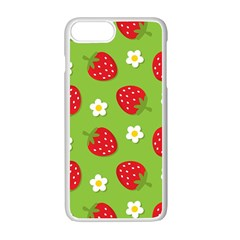 Strawberries Flower Floral Red Green Apple Iphone 7 Plus White Seamless Case