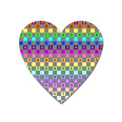 Test Number Color Rainbow Heart Magnet by Jojostore