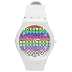 Test Number Color Rainbow Round Plastic Sport Watch (m)