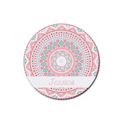 Pattern Tribal Blue Pink Drink Coaster (round) by strawberrymilkstore8