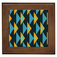 Yellow Blue Triangles Pattern                                                        			framed Tile by LalyLauraFLM