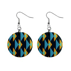 Yellow Blue Triangles Pattern                                                        			1  Button Earrings by LalyLauraFLM